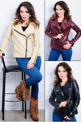Женская куртка-косуха из экокожи Клер - женская одежда, бижутерия оптом. Фото - look-and-buy.com