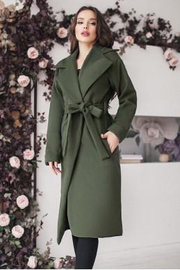 Женское пальто цвета хаки Даниель  - женская одежда, бижутерия оптом. Фото - look-and-buy.com