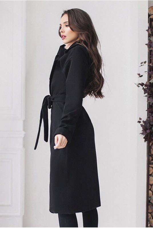 c1846c050d5 Купить Черное классическое женское пальто Даниель