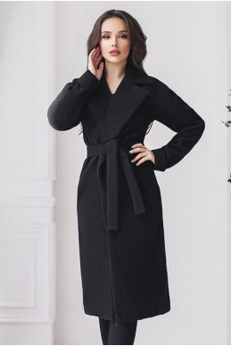 Черное классическое женское пальто Даниель  - женская одежда, бижутерия оптом. Фото - look-and-buy.com