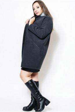 """Пальто батальное """"Маргарита"""", графит - женская одежда, бижутерия оптом. Фото - look-and-buy.com"""