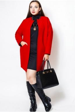 """Короткое пальто """"Маргарита"""", красный - женская одежда, бижутерия оптом. Фото - look-and-buy.com"""
