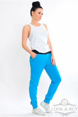 """Штаны """"Style"""" голубые - женская одежда, бижутерия оптом. Фото - look-and-buy.com"""