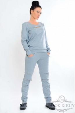 """Спортивный костюм """"Chloe""""серый - женская одежда, бижутерия оптом. Фото - look-and-buy.com"""