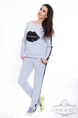 """Спортивный костюм """"Кис"""", меланж - женская одежда, бижутерия оптом. Фото - look-and-buy.com"""