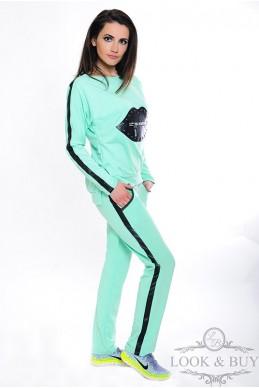 """Спортивный костюм """"Кис"""", ментол - женская одежда, бижутерия оптом. Фото - look-and-buy.com"""