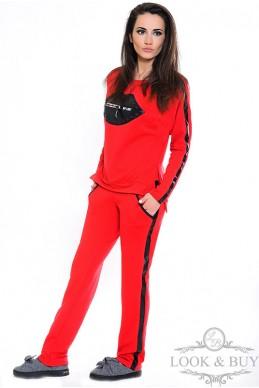 """Трикотажный костюм """"Кис"""", красный - женская одежда, бижутерия оптом. Фото - look-and-buy.com"""