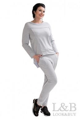 """Трикотажный женский костюм """"Токио"""" серый - женская одежда, бижутерия оптом. Фото - look-and-buy.com"""