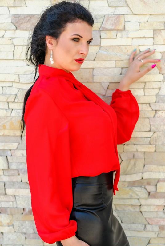 Шифоновая Красная Блузка С Доставкой